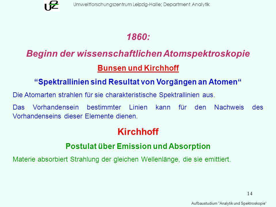 14 Umweltforschungszentrum Leipzig-Halle; Department Analytik Aufbaustudium Analytik und Spektroskopie 1860: Beginn der wissenschaftlichen Atomspektroskopie Bunsen und Kirchhoff Spektrallinien sind Resultat von Vorgängen an Atomen Die Atomarten strahlen für sie charakteristische Spektrallinien aus.