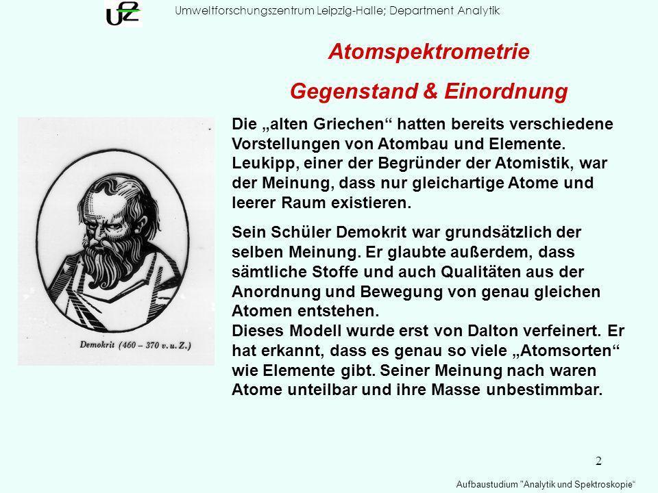 3 Umweltforschungszentrum Leipzig-Halle; Department Analytik Aufbaustudium Analytik und Spektroskopie Gegenstand:Elementanalytik Atomspektrometrie : Gegenstand & Einordnung * 110 DS Darmstadtium