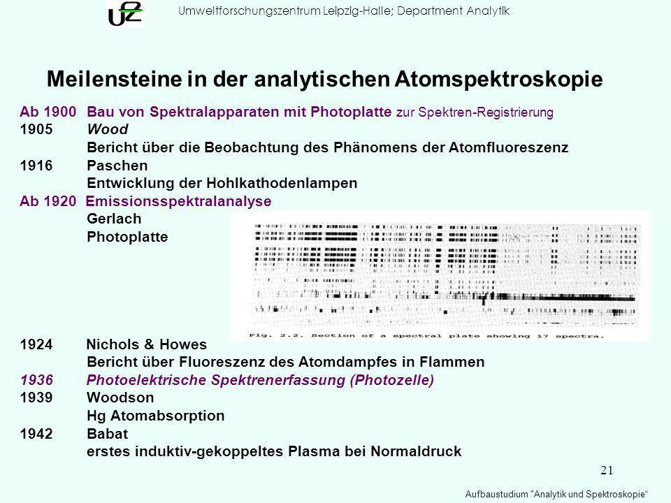 21 Umweltforschungszentrum Leipzig-Halle; Department Analytik Aufbaustudium