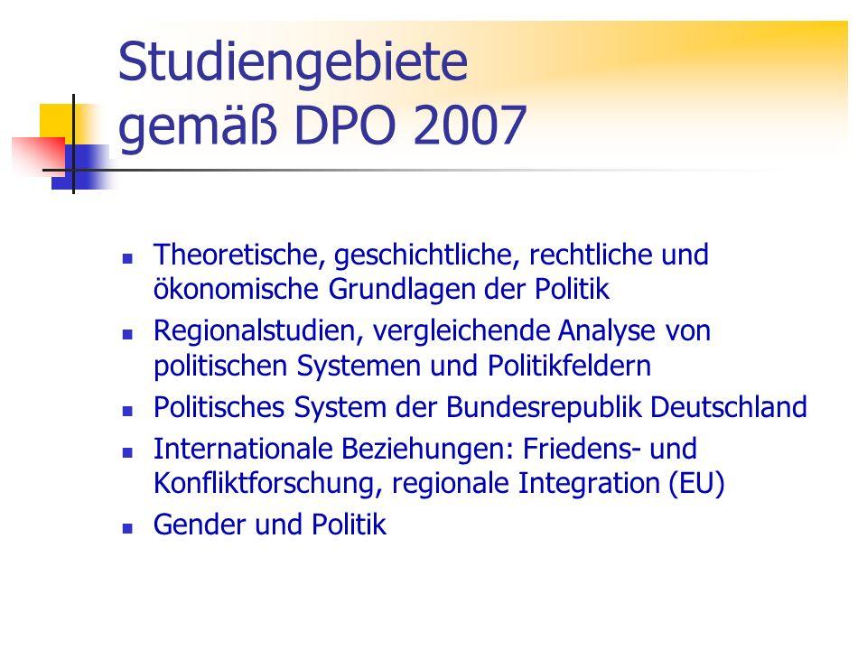 Studiengebiete gemäß DPO 2007 Theoretische, geschichtliche, rechtliche und ökonomische Grundlagen der Politik Regionalstudien, vergleichende Analyse v