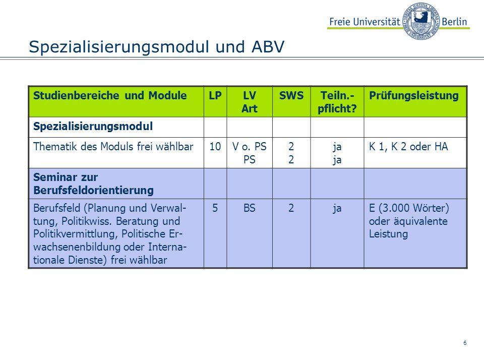 6 Spezialisierungsmodul und ABV Studienbereiche und ModuleLPLV Art SWSTeiln.- pflicht.