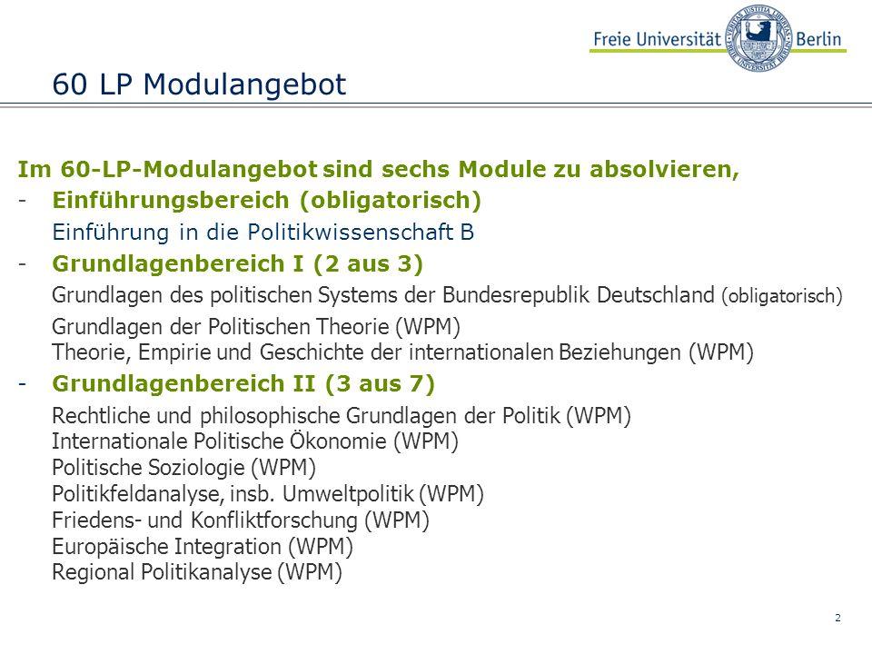 2 60 LP Modulangebot Im 60-LP-Modulangebot sind sechs Module zu absolvieren, -Einführungsbereich (obligatorisch) Einführung in die Politikwissenschaft