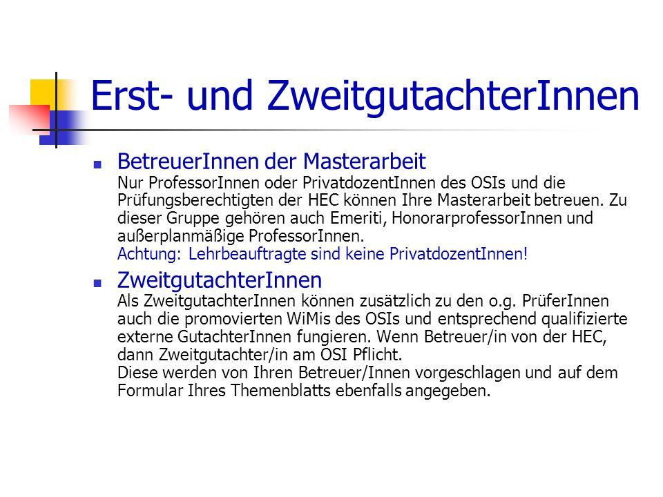 Die Verteidigung (mündliche Prüfung) Inhalt Gegenstand der mündlichen Prüfung ist die Präsentation und Verteidigung der Masterarbeit.