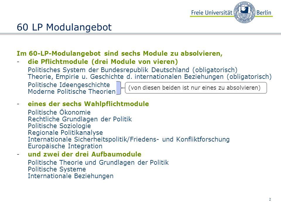 2 60 LP Modulangebot Im 60-LP-Modulangebot sind sechs Module zu absolvieren, -die Pflichtmodule (drei Module von vieren) Politisches System der Bundes
