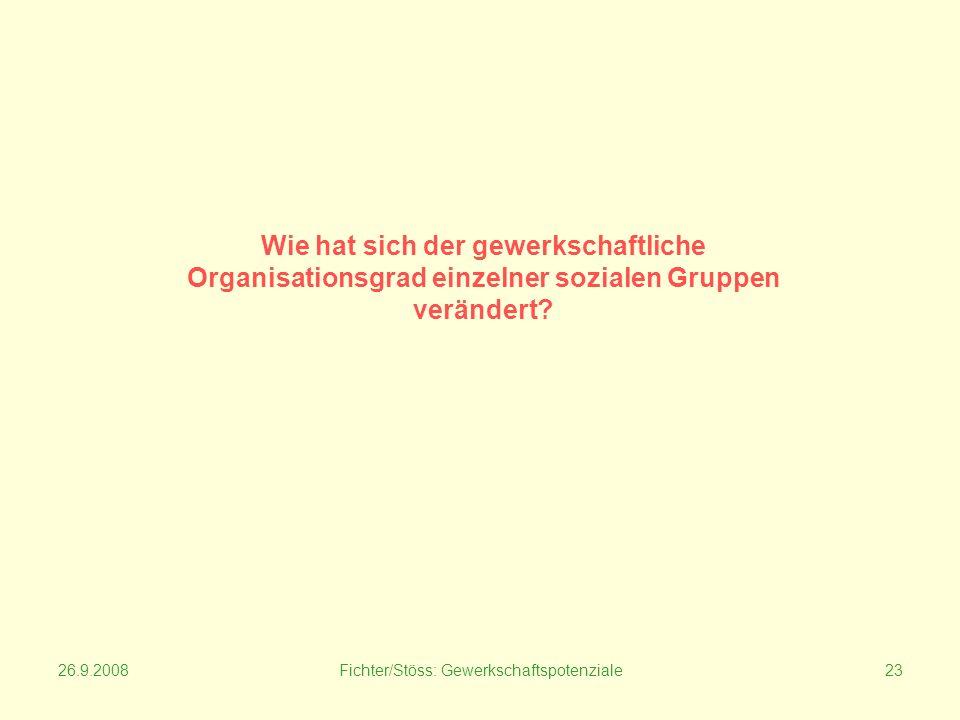 26.9.2008Fichter/Stöss: Gewerkschaftspotenziale23 Wie hat sich der gewerkschaftliche Organisationsgrad einzelner sozialen Gruppen verändert?