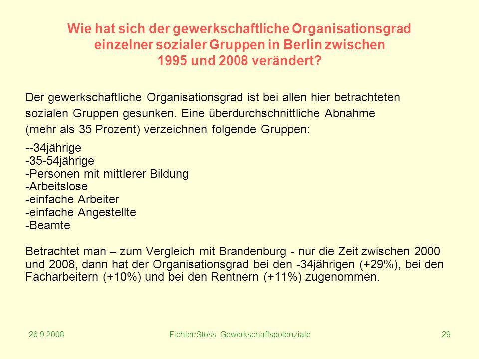 26.9.2008Fichter/Stöss: Gewerkschaftspotenziale29 Wie hat sich der gewerkschaftliche Organisationsgrad einzelner sozialer Gruppen in Berlin zwischen 1995 und 2008 verändert.