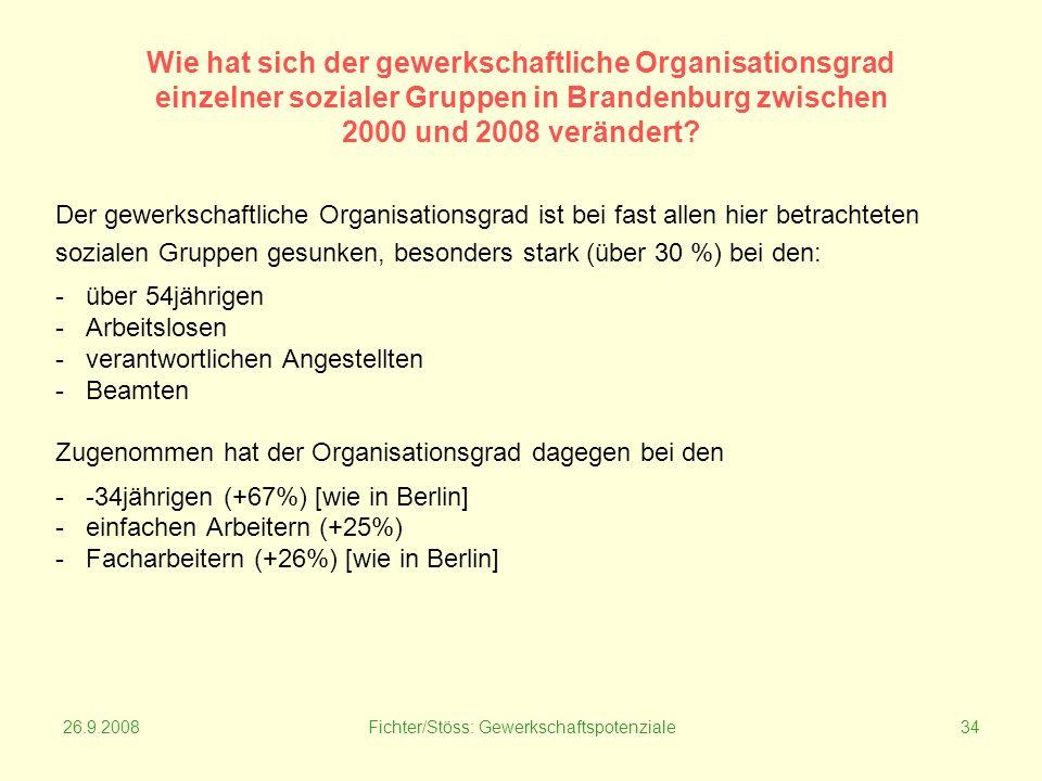 26.9.2008Fichter/Stöss: Gewerkschaftspotenziale34 Wie hat sich der gewerkschaftliche Organisationsgrad einzelner sozialer Gruppen in Brandenburg zwischen 2000 und 2008 verändert.