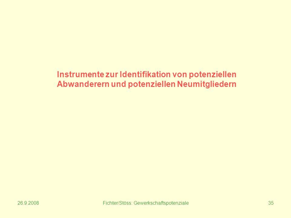 26.9.2008Fichter/Stöss: Gewerkschaftspotenziale35 Instrumente zur Identifikation von potenziellen Abwanderern und potenziellen Neumitgliedern