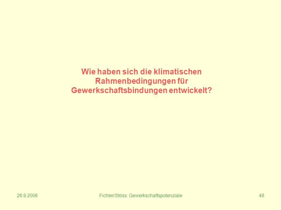26.9.2008Fichter/Stöss: Gewerkschaftspotenziale48 Wie haben sich die klimatischen Rahmenbedingungen für Gewerkschaftsbindungen entwickelt