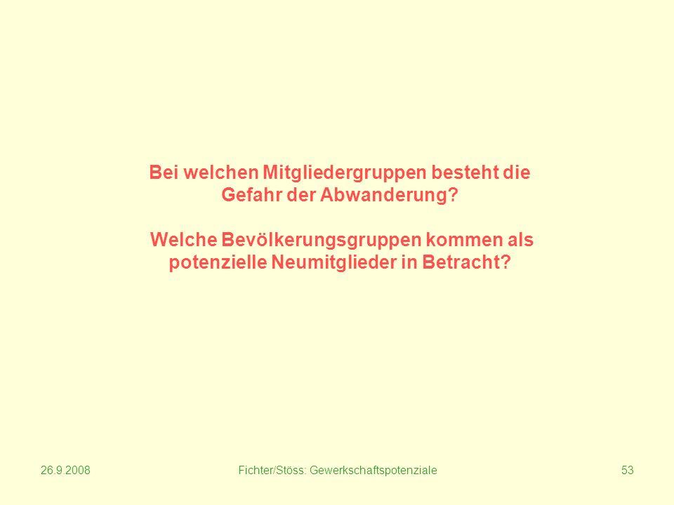 26.9.2008Fichter/Stöss: Gewerkschaftspotenziale53 Bei welchen Mitgliedergruppen besteht die Gefahr der Abwanderung.