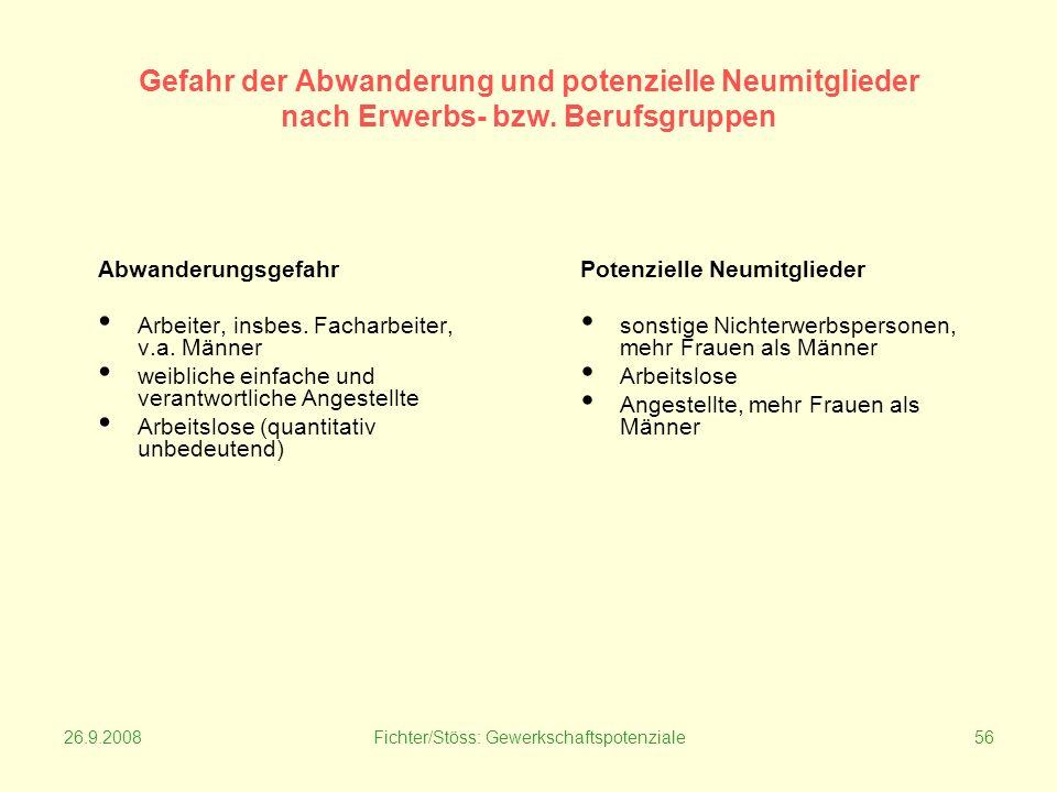 26.9.2008Fichter/Stöss: Gewerkschaftspotenziale56 Gefahr der Abwanderung und potenzielle Neumitglieder nach Erwerbs- bzw.