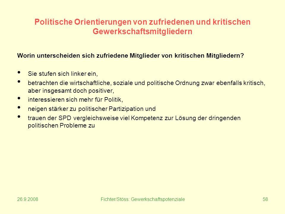 26.9.2008Fichter/Stöss: Gewerkschaftspotenziale58 Politische Orientierungen von zufriedenen und kritischen Gewerkschaftsmitgliedern Worin unterscheiden sich zufriedene Mitglieder von kritischen Mitgliedern.