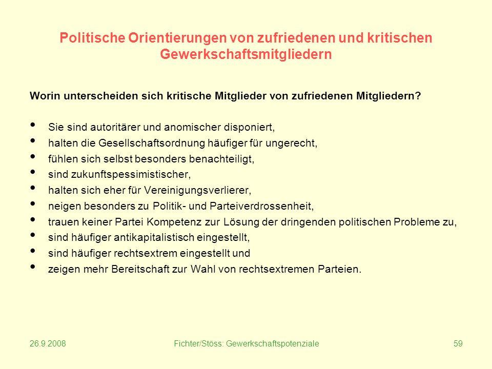 26.9.2008Fichter/Stöss: Gewerkschaftspotenziale59 Politische Orientierungen von zufriedenen und kritischen Gewerkschaftsmitgliedern Worin unterscheiden sich kritische Mitglieder von zufriedenen Mitgliedern.