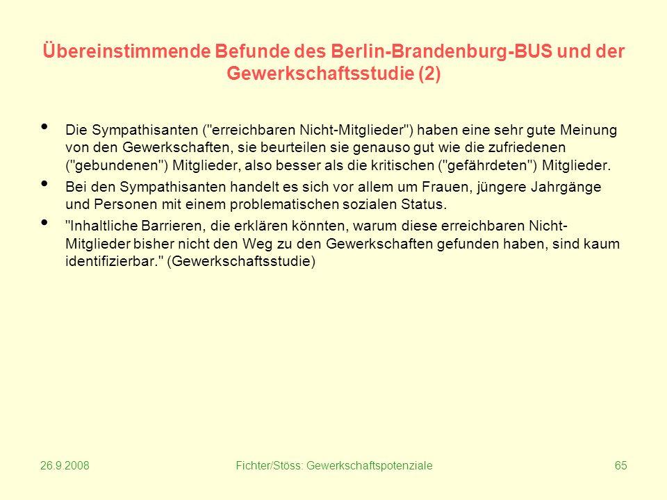 26.9.2008Fichter/Stöss: Gewerkschaftspotenziale65 Übereinstimmende Befunde des Berlin-Brandenburg-BUS und der Gewerkschaftsstudie (2) Die Sympathisanten ( erreichbaren Nicht-Mitglieder ) haben eine sehr gute Meinung von den Gewerkschaften, sie beurteilen sie genauso gut wie die zufriedenen ( gebundenen ) Mitglieder, also besser als die kritischen ( gefährdeten ) Mitglieder.