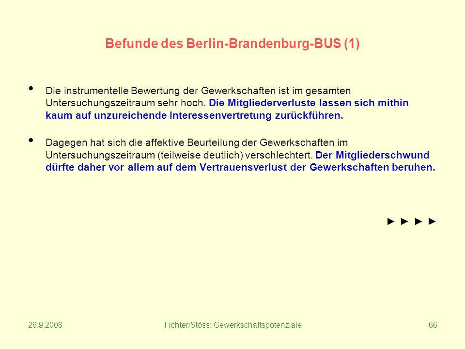 26.9.2008Fichter/Stöss: Gewerkschaftspotenziale66 Befunde des Berlin-Brandenburg-BUS (1) Die instrumentelle Bewertung der Gewerkschaften ist im gesamten Untersuchungszeitraum sehr hoch.