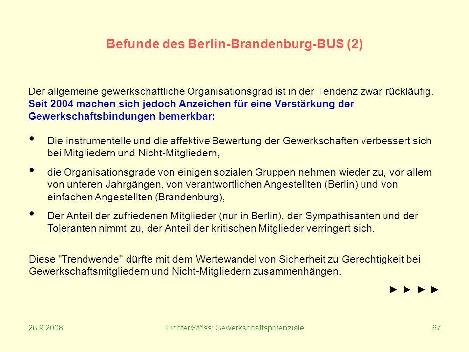 26.9.2008Fichter/Stöss: Gewerkschaftspotenziale67 Befunde des Berlin-Brandenburg-BUS (2) Der allgemeine gewerkschaftliche Organisationsgrad ist in der Tendenz zwar rückläufig.