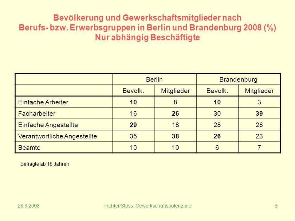 26.9.2008Fichter/Stöss: Gewerkschaftspotenziale8 Bevölkerung und Gewerkschaftsmitglieder nach Berufs- bzw.