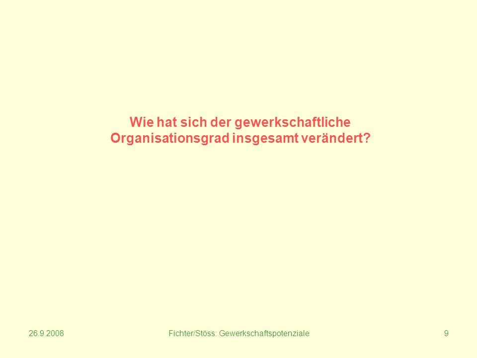 26.9.2008Fichter/Stöss: Gewerkschaftspotenziale9 Wie hat sich der gewerkschaftliche Organisationsgrad insgesamt verändert