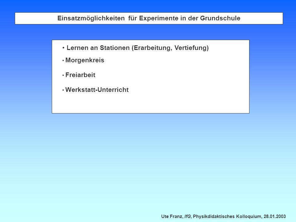 Ute Franz, IfG, Physikdidaktisches Kolloquium, 28.01.2003 Einsatzmöglichkeiten für Experimente in der Grundschule Lernen an Stationen (Erarbeitung, Ve