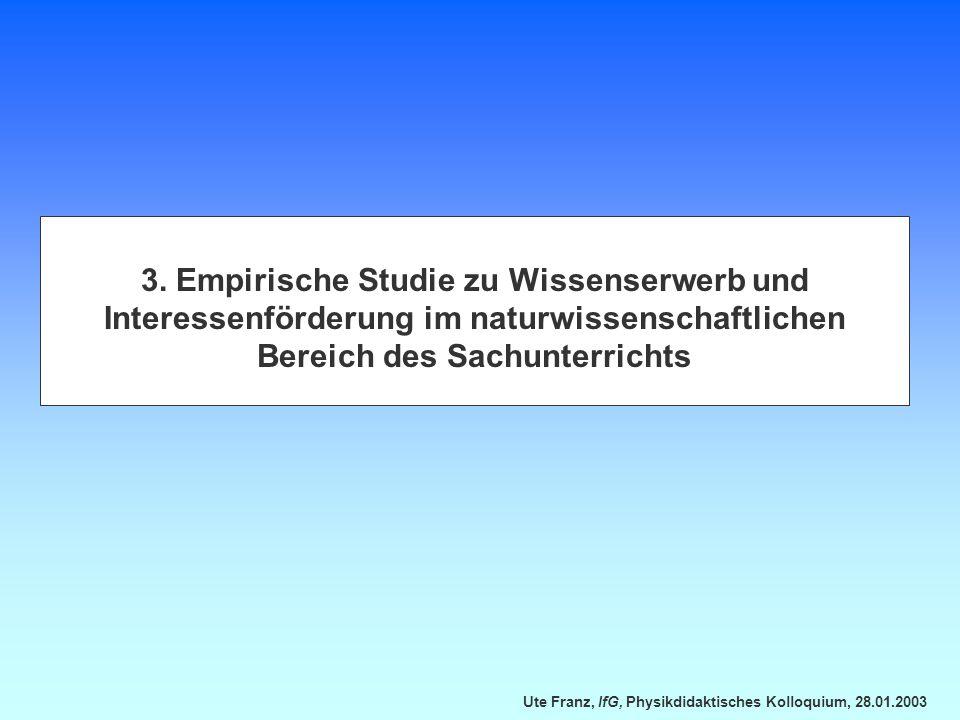 Ute Franz, IfG, Physikdidaktisches Kolloquium, 28.01.2003 3. Empirische Studie zu Wissenserwerb und Interessenförderung im naturwissenschaftlichen Ber