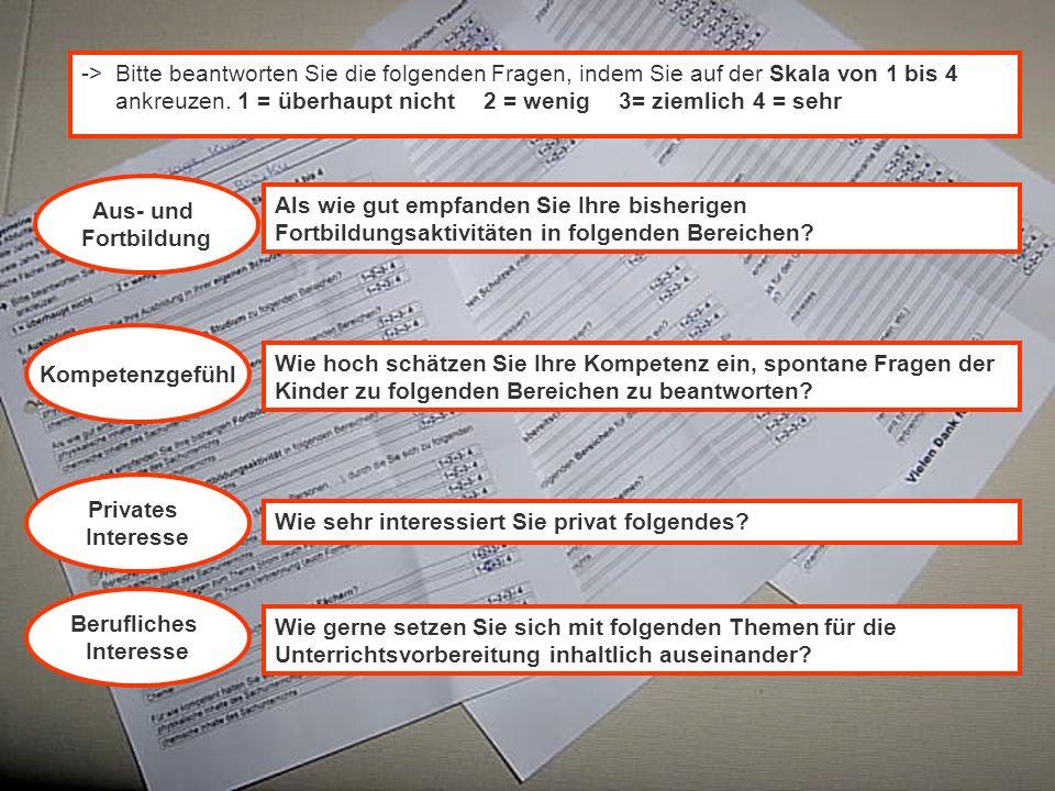 Ute Franz, IfG, Physikdidaktisches Kolloquium, 28.01.2003 Aus- und Fortbildung Kompetenzgefühl -> Bitte beantworten Sie die folgenden Fragen, indem Si