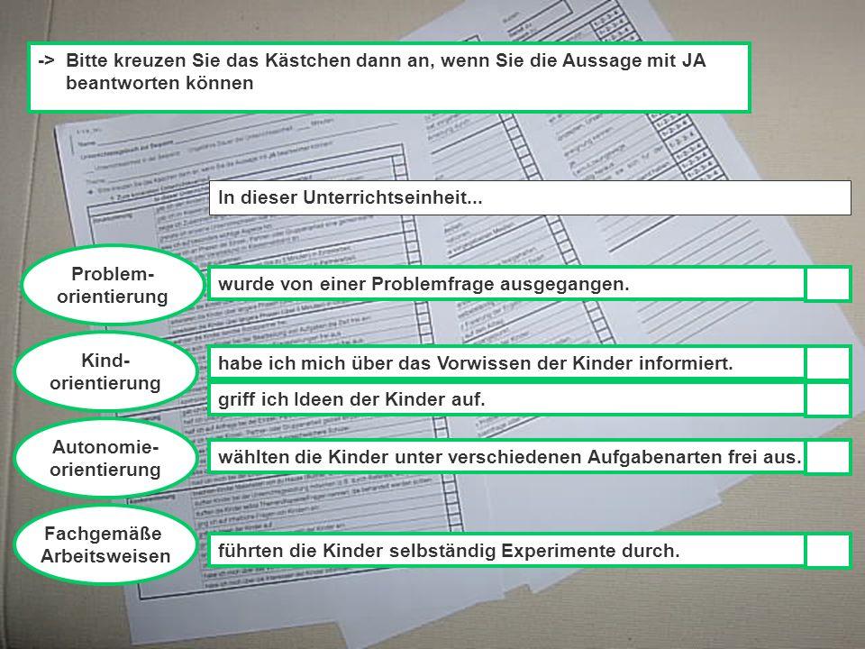 Ute Franz, IfG, Physikdidaktisches Kolloquium, 28.01.2003 Problem- orientierung Kind- orientierung -> Bitte kreuzen Sie das Kästchen dann an, wenn Sie