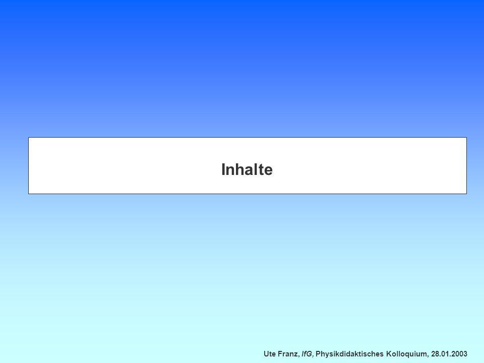 Ute Franz, IfG, Physikdidaktisches Kolloquium, 28.01.2003 Wie wurde unterrichtet.