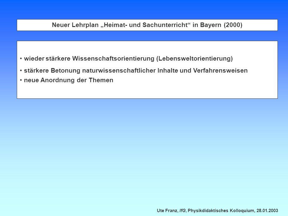 Ute Franz, IfG, Physikdidaktisches Kolloquium, 28.01.2003 Neuer Lehrplan Heimat- und Sachunterricht in Bayern (2000) wieder stärkere Wissenschaftsorie