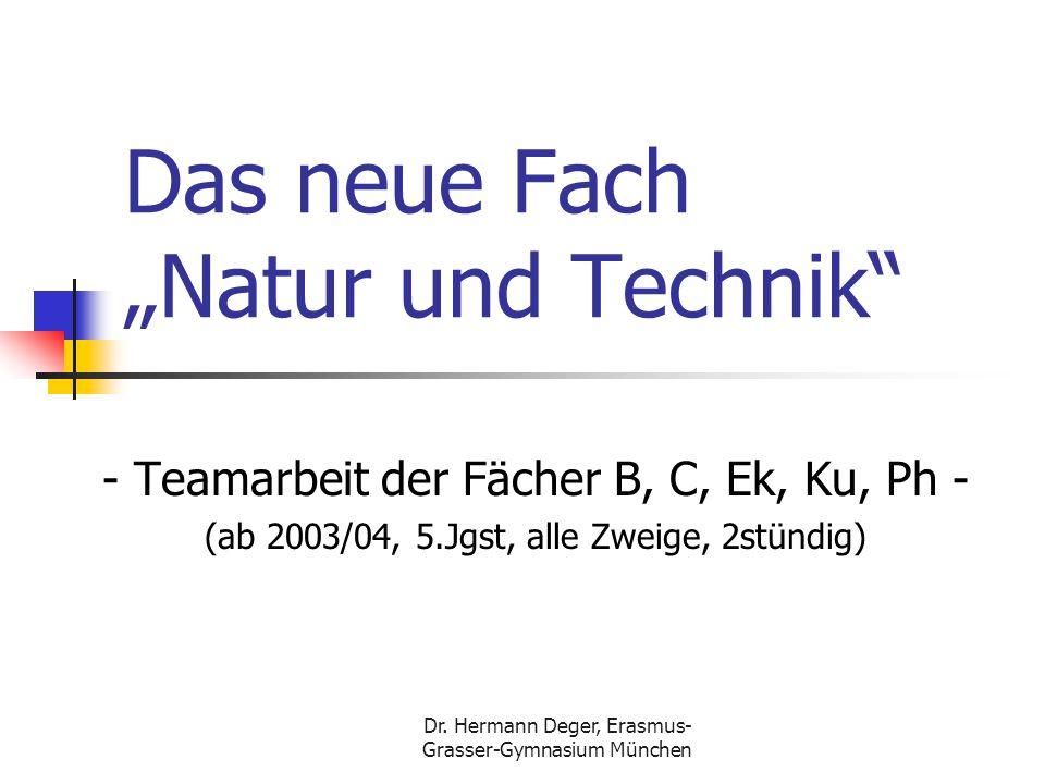 Dr. Hermann Deger, Erasmus- Grasser-Gymnasium München Das neue Fach Natur und Technik - Teamarbeit der Fächer B, C, Ek, Ku, Ph - (ab 2003/04, 5.Jgst,