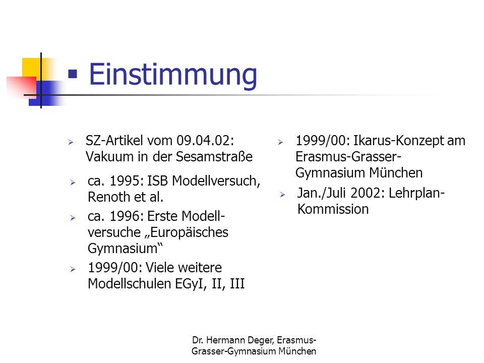 Dr. Hermann Deger, Erasmus- Grasser-Gymnasium München Einstimmung SZ-Artikel vom 09.04.02: Vakuum in der Sesamstraße 1999/00: Ikarus-Konzept am Erasmu