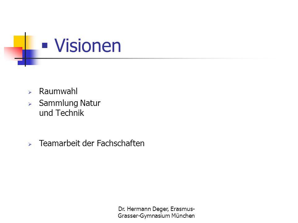Dr. Hermann Deger, Erasmus- Grasser-Gymnasium München Visionen Raumwahl Sammlung Natur und Technik Teamarbeit der Fachschaften