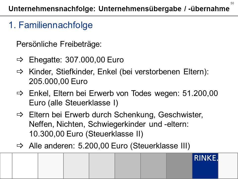 50 Unternehmensnachfolge: Unternehmensübergabe / -übernahme 1. Familiennachfolge Persönliche Freibeträge: Ehegatte: 307.000,00 Euro Kinder, Stiefkinde
