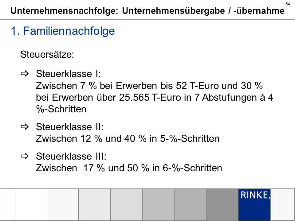 54 Unternehmensnachfolge: Unternehmensübergabe / -übernahme 1. Familiennachfolge Steuersätze: Steuerklasse I: Zwischen 7 % bei Erwerben bis 52 T-Euro