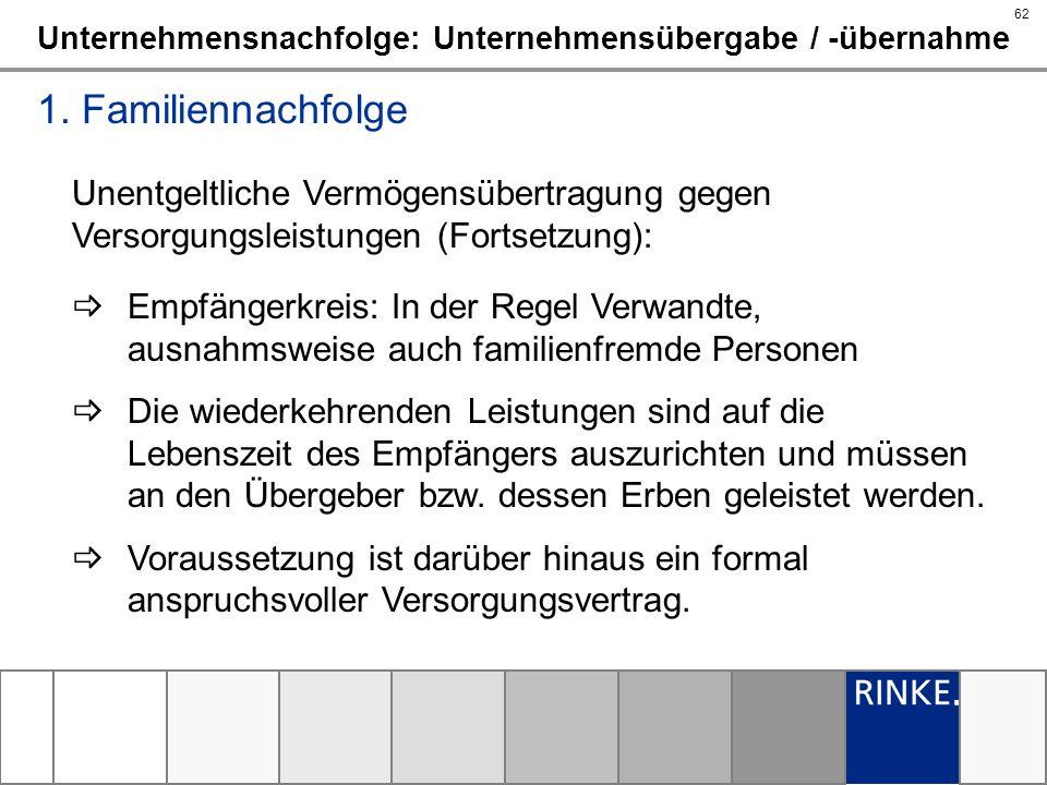 62 Unternehmensnachfolge: Unternehmensübergabe / -übernahme 1. Familiennachfolge Unentgeltliche Vermögensübertragung gegen Versorgungsleistungen (Fort