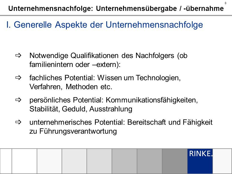 8 Unternehmensnachfolge: Unternehmensübergabe / -übernahme I. Generelle Aspekte der Unternehmensnachfolge Notwendige Qualifikationen des Nachfolgers (