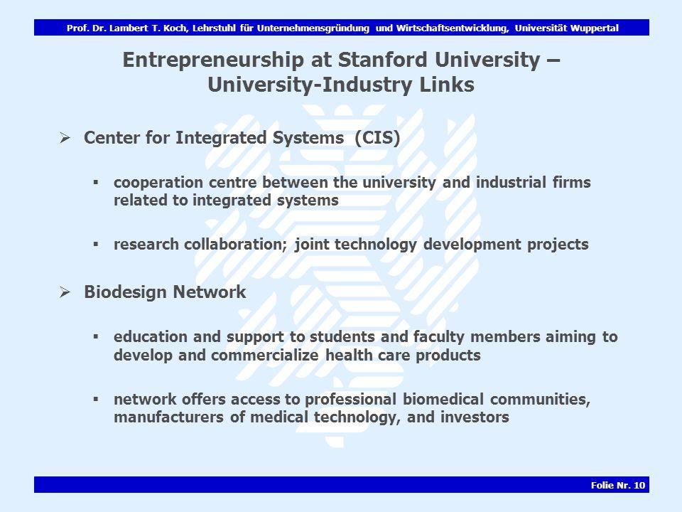 Prof. Dr. Lambert T. Koch, Lehrstuhl für Unternehmensgründung und Wirtschaftsentwicklung, Universität Wuppertal Folie Nr. 10 Entrepreneurship at Stanf