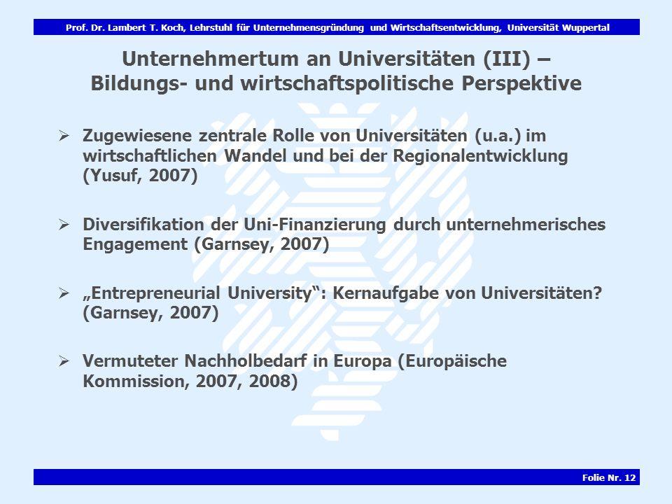 Prof. Dr. Lambert T. Koch, Lehrstuhl für Unternehmensgründung und Wirtschaftsentwicklung, Universität Wuppertal Folie Nr. 12 Unternehmertum an Univers