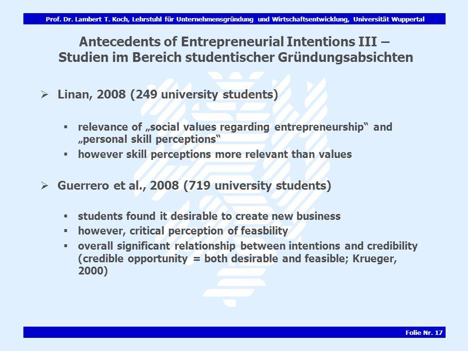 Prof. Dr. Lambert T. Koch, Lehrstuhl für Unternehmensgründung und Wirtschaftsentwicklung, Universität Wuppertal Folie Nr. 17 Antecedents of Entreprene