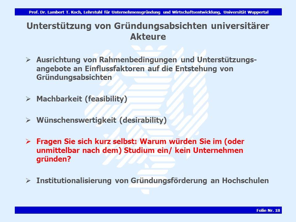 Prof. Dr. Lambert T. Koch, Lehrstuhl für Unternehmensgründung und Wirtschaftsentwicklung, Universität Wuppertal Folie Nr. 18 Unterstützung von Gründun