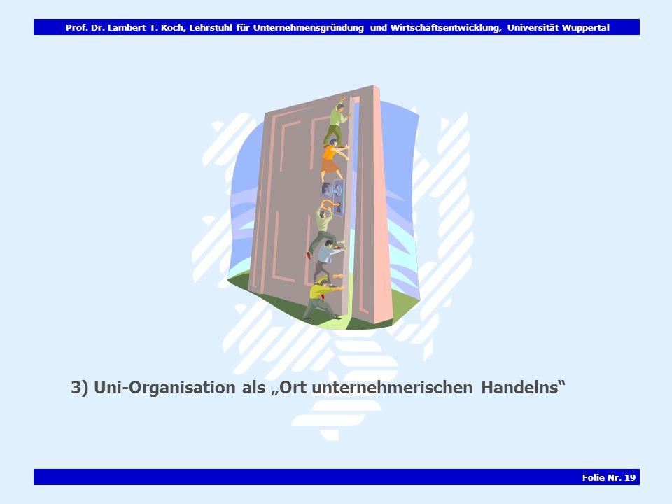 Prof. Dr. Lambert T. Koch, Lehrstuhl für Unternehmensgründung und Wirtschaftsentwicklung, Universität Wuppertal Folie Nr. 19 3) Uni-Organisation als O