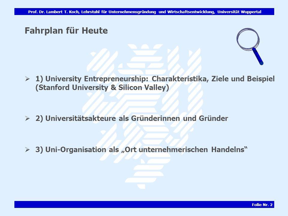 Prof. Dr. Lambert T. Koch, Lehrstuhl für Unternehmensgründung und Wirtschaftsentwicklung, Universität Wuppertal Folie Nr. 2 Fahrplan für Heute 1) Univ