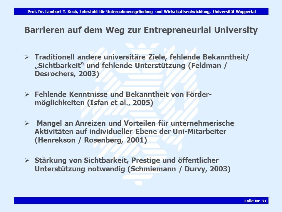Prof. Dr. Lambert T. Koch, Lehrstuhl für Unternehmensgründung und Wirtschaftsentwicklung, Universität Wuppertal Folie Nr. 21 Barrieren auf dem Weg zur