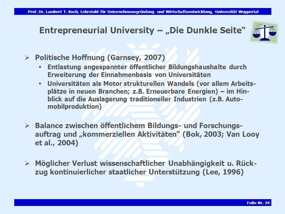 Prof. Dr. Lambert T. Koch, Lehrstuhl für Unternehmensgründung und Wirtschaftsentwicklung, Universität Wuppertal Folie Nr. 24 Entrepreneurial Universit