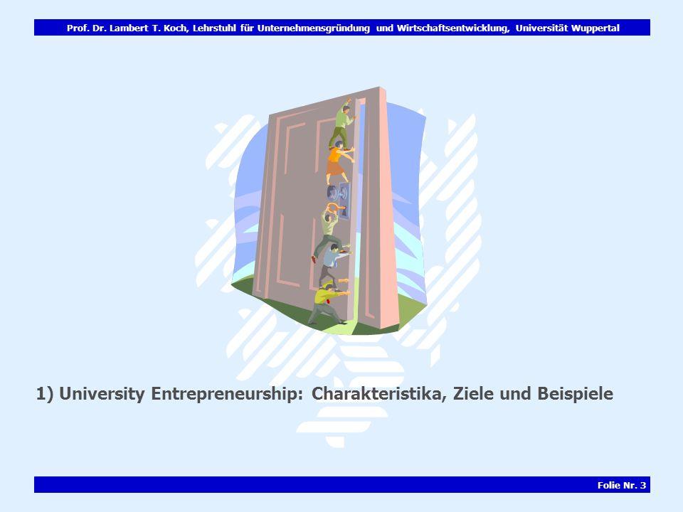 Prof. Dr. Lambert T. Koch, Lehrstuhl für Unternehmensgründung und Wirtschaftsentwicklung, Universität Wuppertal Folie Nr. 3 1) University Entrepreneur