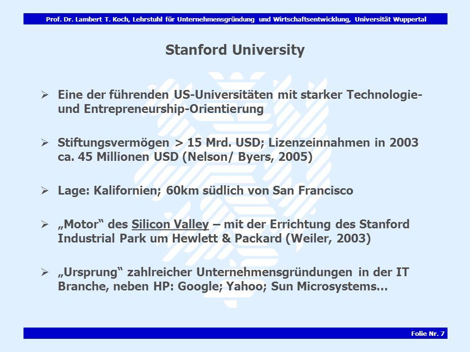 Prof. Dr. Lambert T. Koch, Lehrstuhl für Unternehmensgründung und Wirtschaftsentwicklung, Universität Wuppertal Folie Nr. 7 Stanford University Eine d