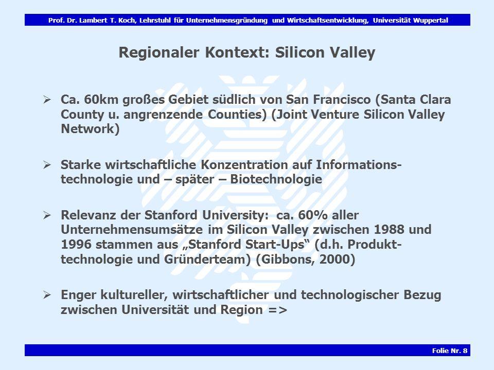 Prof. Dr. Lambert T. Koch, Lehrstuhl für Unternehmensgründung und Wirtschaftsentwicklung, Universität Wuppertal Folie Nr. 8 Regionaler Kontext: Silico