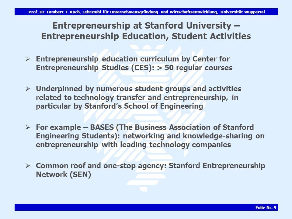 Prof. Dr. Lambert T. Koch, Lehrstuhl für Unternehmensgründung und Wirtschaftsentwicklung, Universität Wuppertal Folie Nr. 9 Entrepreneurship at Stanfo