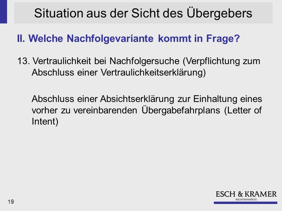 19 Situation aus der Sicht des Übergebers 13.