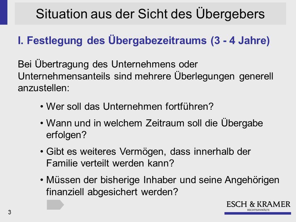 3 Situation aus der Sicht des Übergebers I.