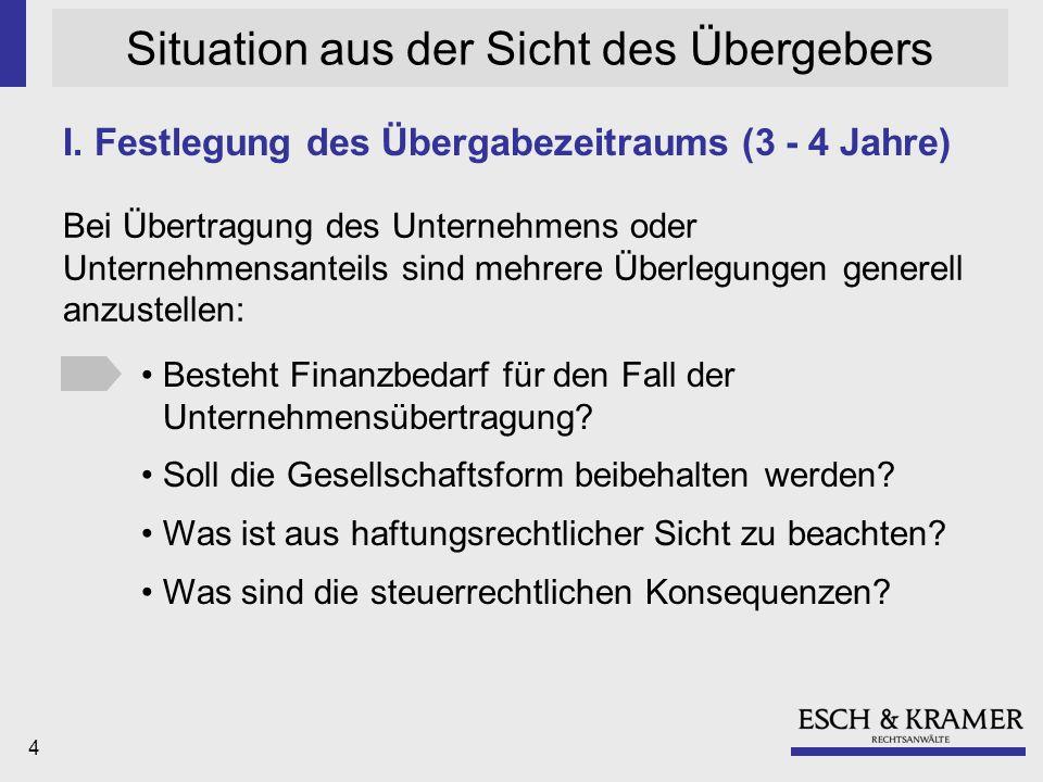 5 Situation aus der Sicht des Übergebers II.Welche Nachfolgevariante kommt in Frage.